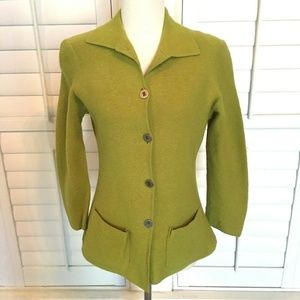 Chicos Design Green Boiled Wool Jacket Sz 1 M